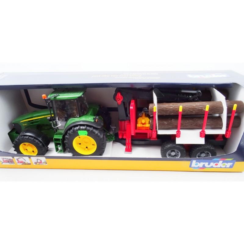 Tractor John Deere 7930 cu remorca forestiera si busteni